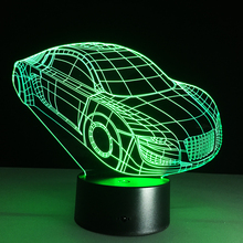 3D Deco Light Motor Car Automobile Shape USB Charge Touch Switch Lamp Colorful Kids Night Light