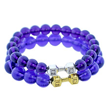 Natural Stone Purple Crystal Bracelets Dumbbell Charm Handmade Chakra Quartz Beads Bracelet Fitness Crossfit Barbell Gym Jewelry