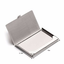 Business ID Name Credit Card Holder Cover Waterproof Card case Stainless Steel Silver Aluminium Metal Case Box(China)