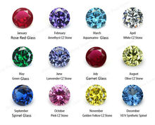 50PCS Per Colors Total 600pcs Round Birthday Stone Loose Glass Stone Zirconia Synthetic Gemstone(China)