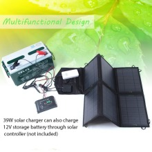 39W Folding Solar Power Charger Portable Solar charger panel for iphone , ipad . 5v usdb devices and 18v dc laptops(China)