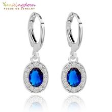 Yunkingdom fashion brand small drop earrings blue zirconia crystal jewelry wholesale