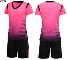 AXFAM 2017 Women's Soccer Jerseys kit Short Sleeve Striped sportswear Custom Training suit Survetement Football uniform LB1604