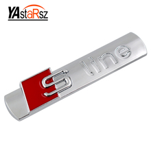 3D Metal Sline S line Fender Emblem Decal Sticker Badge Car Styling For Audi A1 A3 A4 A5 A6 A7 A8 Q3 Q5 Q7 S3 S4 S5 S6 S7 S8 TT