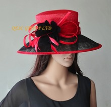 NEW Red black big brim Sinamay Hat Formal dress with feather flower for wedding races church party kentucky derby(China)
