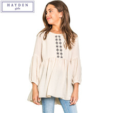 HAYDEN Girls Peasant Dresses for Teens with Sleeves Vintage Embroidered Boho Dress for Children Kids Bohemian Clothing Lots(China)