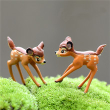 Hot 2pcs Artificial Mini Sika Deer Fairy Garden Miniatures Gnomes Moss Terrariums Resin Crafts Figurines For Home Decoration