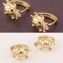 Toddler Girls Kids Solid Gold Color Cute Turtle HoopPiercing Copper Alloy Piercing Small Earrings Body Jewelry