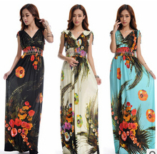 Beach Dress Plus Size 6XL Dresses Women Summer Casual Clothing Bohemian Silk Floral V-neck Maxi Dress Casual Vestido C99