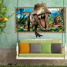 Home Decoration 3D Wall Sticker Break Wall Dinosaur For Kid's Room Bedroom Mural Art Removable Decals Adesivo De Parede(China)