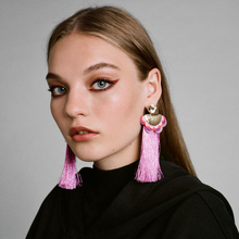 2017 Boho Statement Earrings Ethnic Purple Drop Earing Jewelry Colorful Fringe Tassel Earrings for Women Brincos(China)