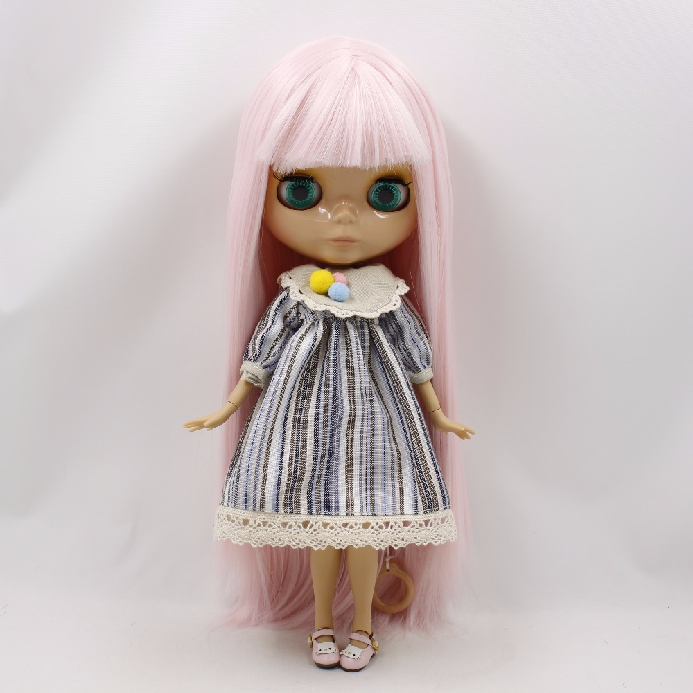 Neo Blythe Doll with Pink Hair, Tan Skin, Shiny Face & Jointed Body 1