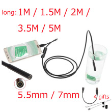 Mokingtop 6 LED Waterproof Lens Endoscope Inspection Snake Tube Pipe Camera For Android OTG USB Phone Borescope 7mm 5.5mm