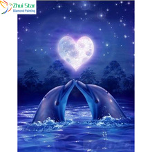 Zhui Star 5D DIY full Square drill diamond painting Cross Stitch love Dolphins Embroidery Rhinestone diamond Mosaic home decor