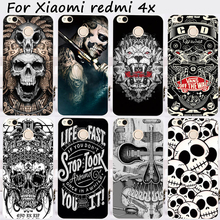 Cases For Xiaomi Redmi 4X 5.0 inch Cover Bags Hard Plastic Soft TPU Cell Phone Skin Black White Cool Skull Shell Hood Housing