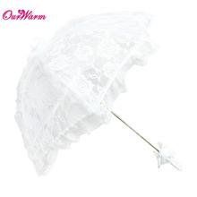 Ourwarm Wedding Umbrella Lace Parasol White Bridal Sun Umbrella For Wedding Decoration Photography Event Party Supplies(China)
