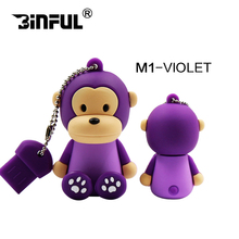 free ship USB flash drive USB Flash 2.0 Memory Drive Stick Pen/Thumb/pendrive 4GB 8GB 16GB 32GB 64GB usb key lovely monkey(China)