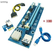 Buy 100PCS PCI Express Riser Card PCI-E Extender 1x 16x Adapter USB 3.0 Cable SATA 6Pin IDE Molex Power BTC Miner Mining for $329.99 in AliExpress store