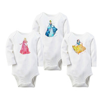 TBONTB 3PCS/lot Snow Princess Baby Girl Clothes White Printed Baby Girl Body Suits Cinderella Printed Baby Rompers Newborn Gift