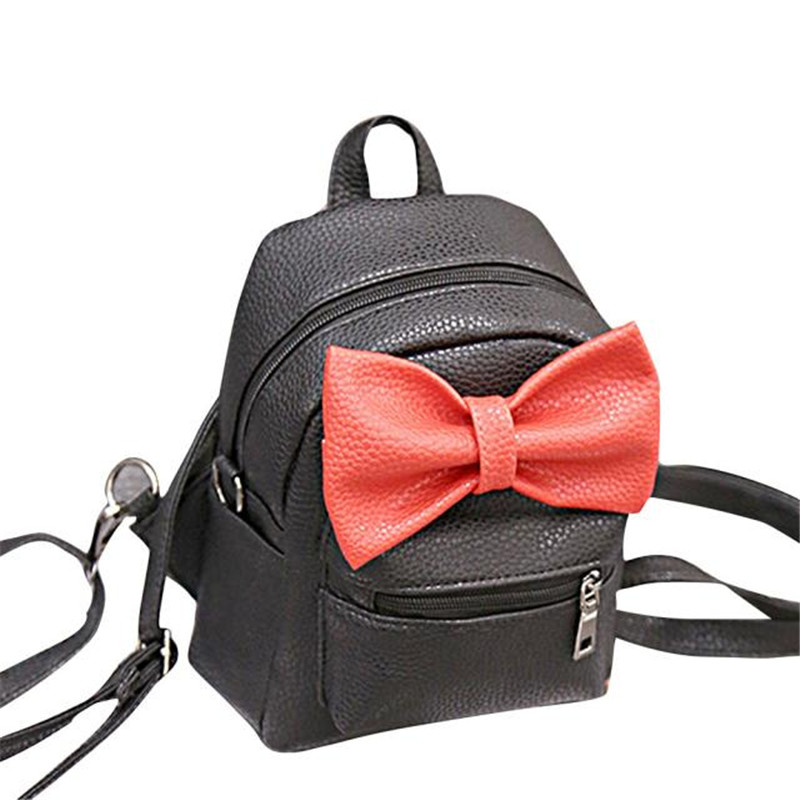 Backpack New Female bag Quality pu leather Women Backpack Shoulder School Bag Sweet girl bow College Wind Travel Rucksack<br><br>Aliexpress