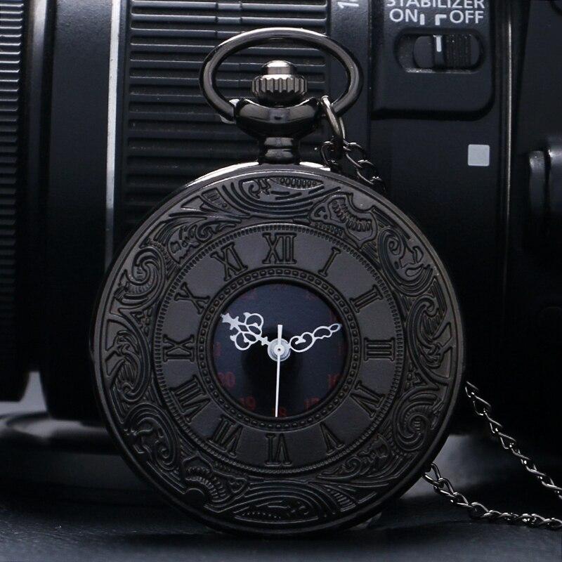 Retro Roman Number Quartz Steampunk Pocket Watch Fashion Necklace Carving Engraved Fob Clock Man Women Pendant Souvenir Top Gift 2018 (2)