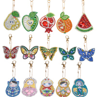 1-6PCS DIY Diamond Keychain Special Shaped Full Diamond Painting Keyring Keychains Cross Stitch Embroidery Women Bag Key Chain