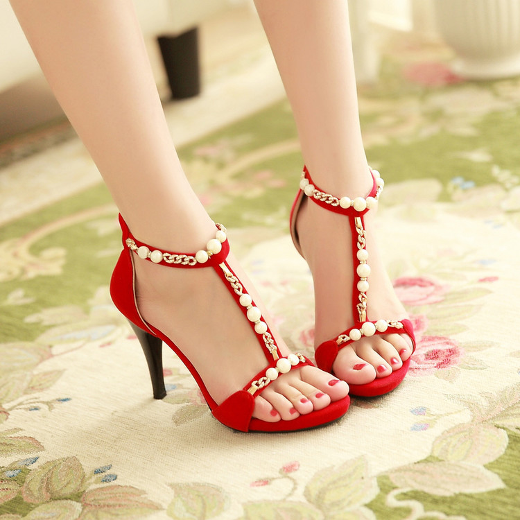 2017 Summer Women High Heels Shoes for Woman Marry Beaded Roman Sandals Red Sexy Female Pumps Shoes Bridesmaid Shoes Black Shoe<br>