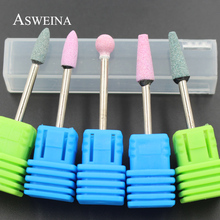"ASWEINA 5Pc Ceramic Stone Nail Drill Bits 3/32"" Rotary Bur Cuticle Clean Milling Manicure Pedicure Tools Nail Salon Accessories(China)"