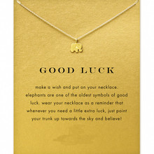 Hot Sale Sparkling Good Lucky Elephant Necklace Gold Color Short Necklace Clavicle Statement Necklace( With Card ) N0010