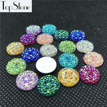 100PCS 10,12,14,16,18MM AB Color Crystal Resin Round flatback Rhinestones Stone Beads Scrapbooking crafts Jewelry Accessories