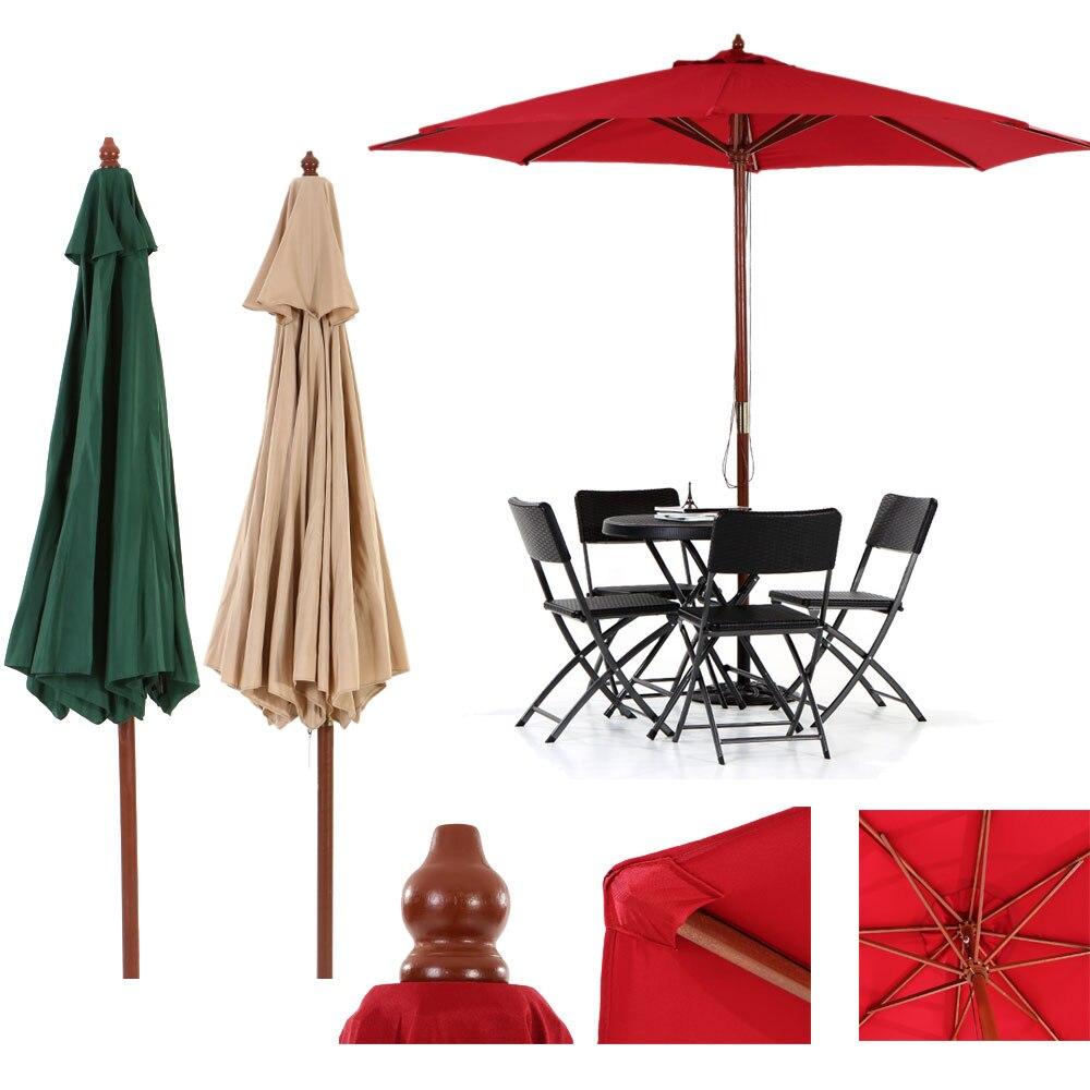 IKayaa US Stock Wooden 2.7M Patio Garden Umbrella Sun Shade Cafe Beach  Parasol Canopy 8