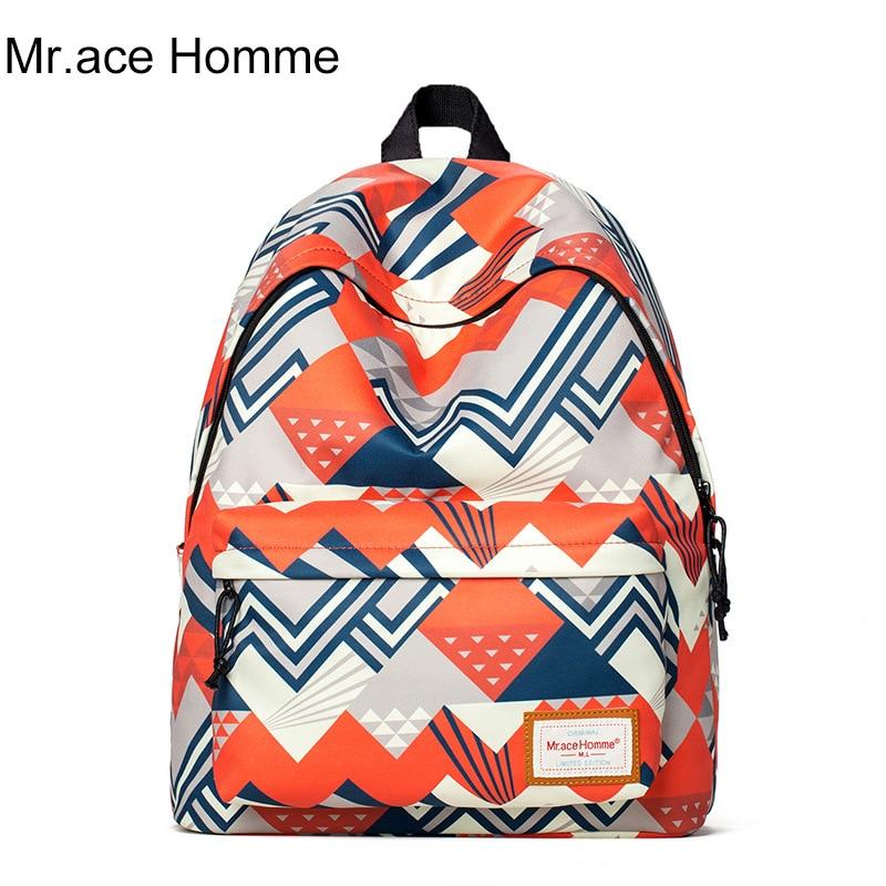 Fashion Geometric Printing Casual Women Men Backpacks Student School Bag Travel Shoulders Bags<br>