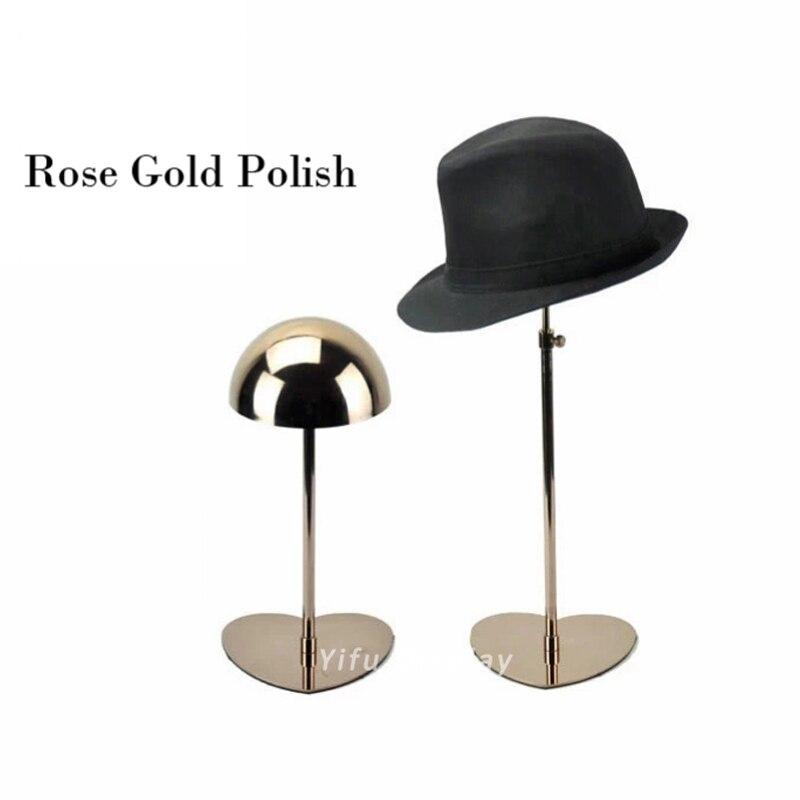 Бесплатная доставка показ кепки держателя шляпы стеллажа для выставки товаров шляпы блеска витрины Голд Метэл Хэт HH002-повысилась золотой блеск
