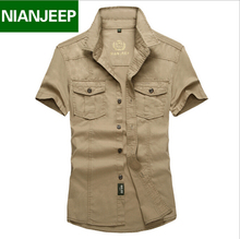 Men shirt Brand NianJeep Plus size Loose New Summer short sleeve 100% cotton mens shirts casual male clothing