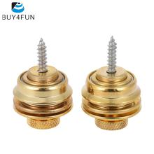 Guitar Strap Lock Straplock Button Flat Head Safety Chrome Plated 2pcs for Guitar Bass Golden(China)