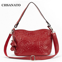New Cowhide Women Handbag Famous Brands Genuine Leather Women's Shoulder Bag Fashion Sweet Lady Roses C(China)