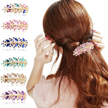 LNRRABC Hot Women Hairpins Crystal Rhinestones Leaves Hairpin Hair Barrette Hair Clip Fashion Jewelry Wedding Hair Accessories(China)