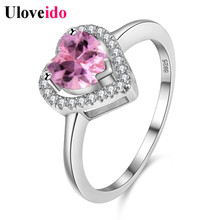 Korean Wedding Women's Rings Unusual Silver Color Jewelry Crystal Heart Ring with Pink Stone Bijouterie Fashion New Year Y3130(China)