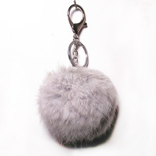 8cm Cute Genuine  Rabbit Fur Ball Plush Key Chain Trinket For Lovers For Car Key Ring Bag Pompon Factory Direct Sale