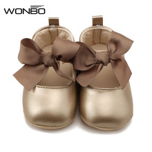 WONBO 0-18M Toddler Baby Girl Soft PU Princess Shoes Bow Bandage Infant Prewalker New Born Baby Shoes(China)