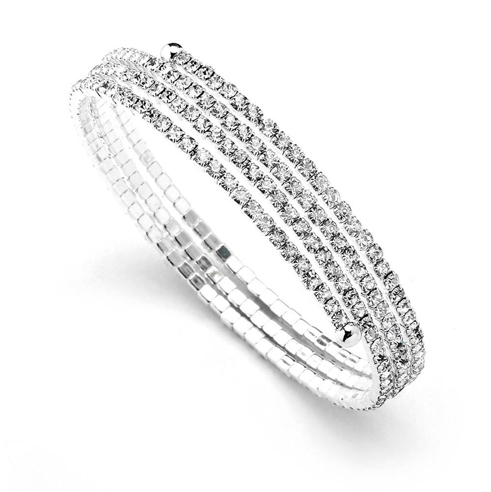 Mariell Austrian Crystal Rhinestone 3-Row Adjustable Coil Cuff Bangle Bracelet for Prom, Wedding & Bridal-1