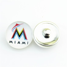 20pcs/lot New Arrival MLB Miami Marlins Baseball Hat Logo Sports Snap Button for 18mm Snap Bracelet Jewelry fit Fans(China)