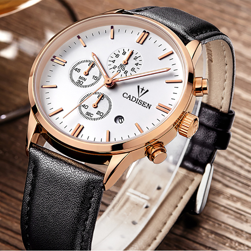 CADISEN Chronograph Leather Strap Men Watches Luxury Brand Calendar Fashion Casual Quartz Watch Male Clock Relogio Masculino<br>