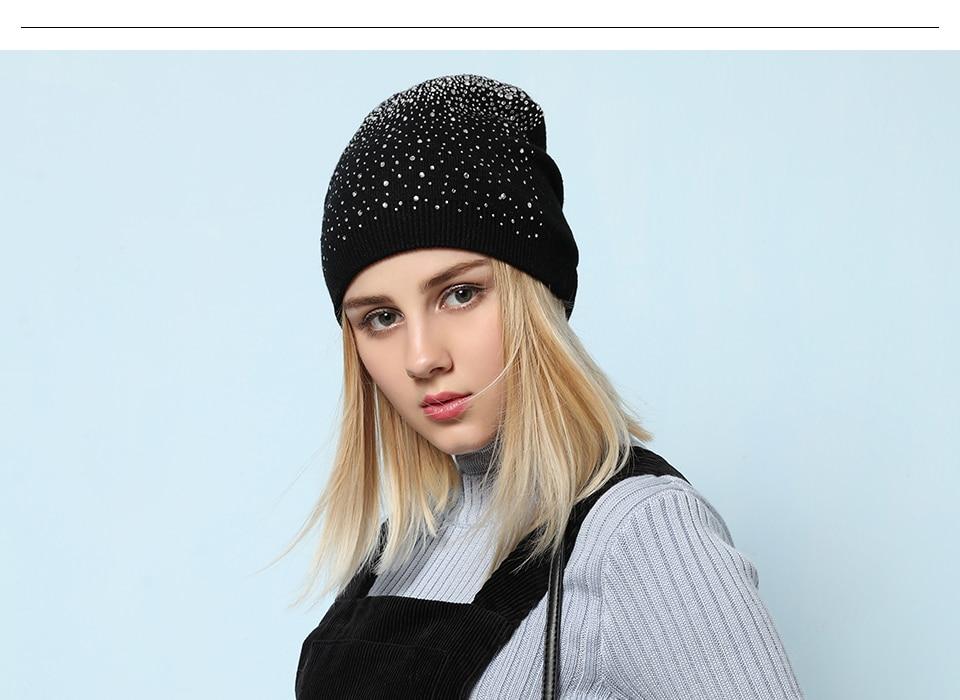 Ralferty Women's Hats Shiny beads Beanies Skullies Street Fashion Autumn Winter Hats For Women Thick Double Layer Caps Casual 6
