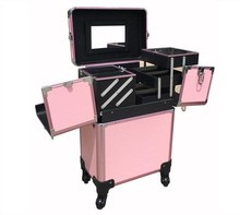 Aluminum frame with PVC panel Rolling Makeup Case Salon Cosmetic Box Organizer Trolley Case Pink/Black