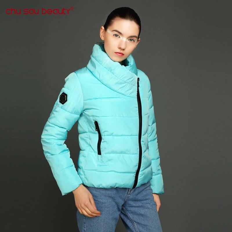 CHUSAUBEAUTY Ukraine Rushed 2017 Women Winter Cotton Jackets Stand Collar Parkas Clothing Single Coat Irregular Zipper Jacket Îäåæäà è àêñåññóàðû<br><br>