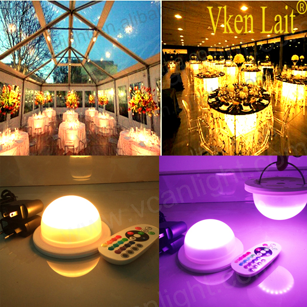 DHL 48 LEDS Free Shipping 120mm base waterproof led light lamp for led furniture Super bright under table lighting for wedding<br>
