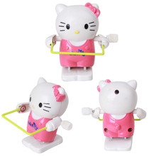 Free Shipping Rope Skipping Kitten Plastic Kids Wind Up Toy Creative Intelligent Game Jumping Hello Kitty Classic Children Toy(China)