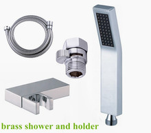 Free Shipping shut off hand shower sets brass hand shower  stainless steel shower hose brass holder TH012