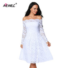 ADEWEL 2017 Spring Summer Long Sleeve Lace Dress Elegant Vintage Boat Neck Cocktail Party Wear Dresses Cute A Line Club Dress